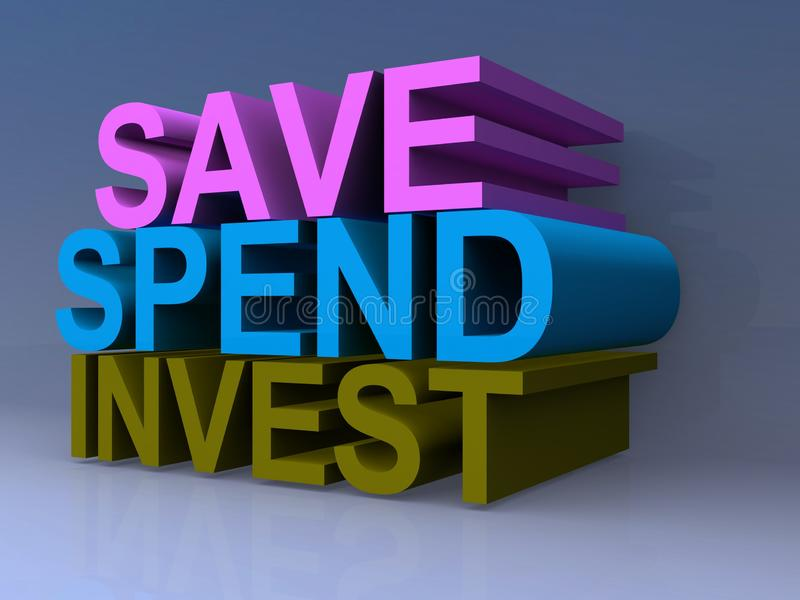 Save, spend and invest. Text 'save, spend, invest' in 3D uppercase letters in purple, blue and green respectively seen on a gray faded background royalty free illustration