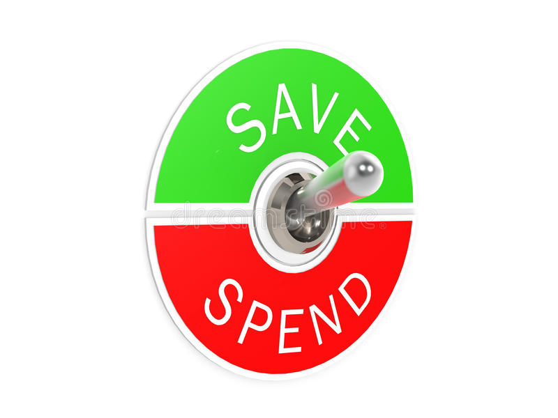 Save spend toggle switch. Image with hi-res rendered artwork that could be used for any graphic design vector illustration