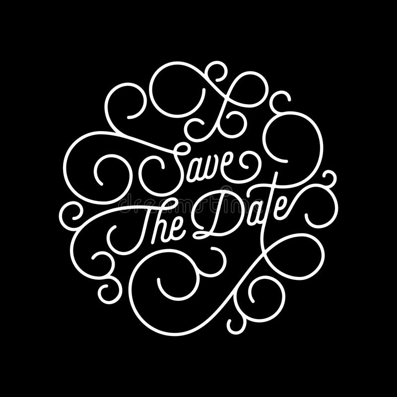 Free Save The Date Flourish Calligraphy Lettering Of Swash Line Typography For Wedding Invitation Card Design. Vector Festive Ornamenta Stock Images - 103921414