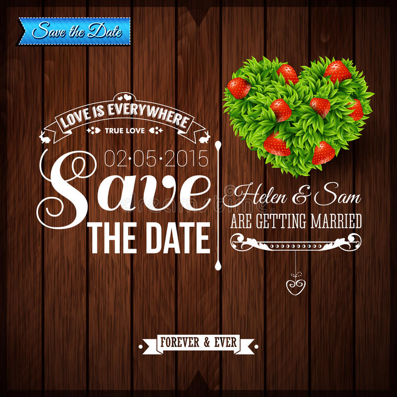 Free Save The Date For Personal Holiday. Wedding Invitation On Wooden Stock Photo - 41387400