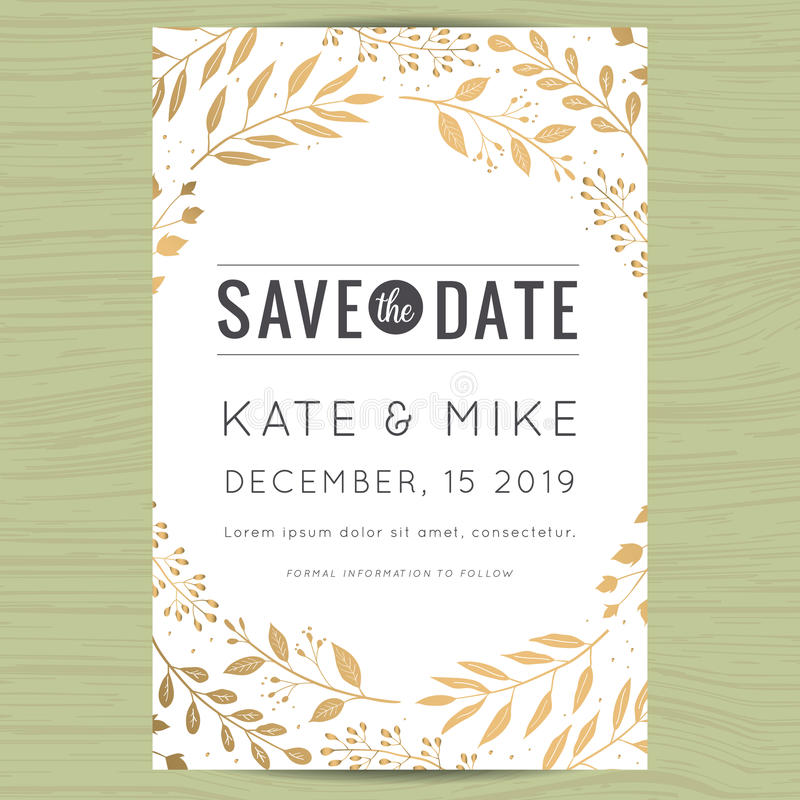 Free Save The Date, Wedding Invitation Card Template With Golden Flower Floral Background. Royalty Free Stock Images - 76318279