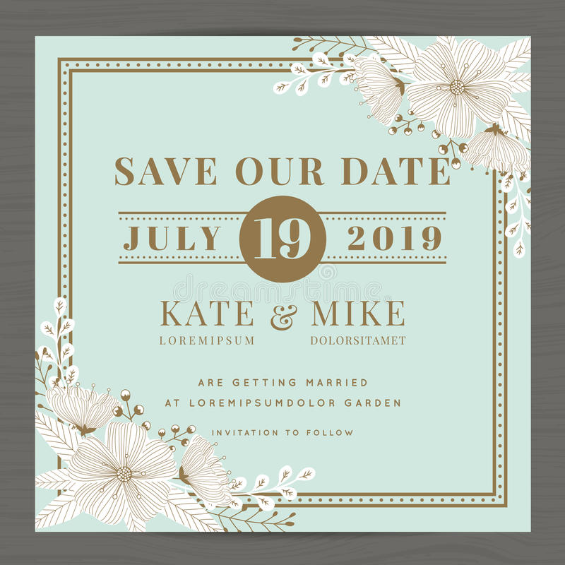 Free Save The Date, Wedding Invitation Card Template With Hand Drawn Flower Floral Background. Vintage Style. Royalty Free Stock Photos - 76355888