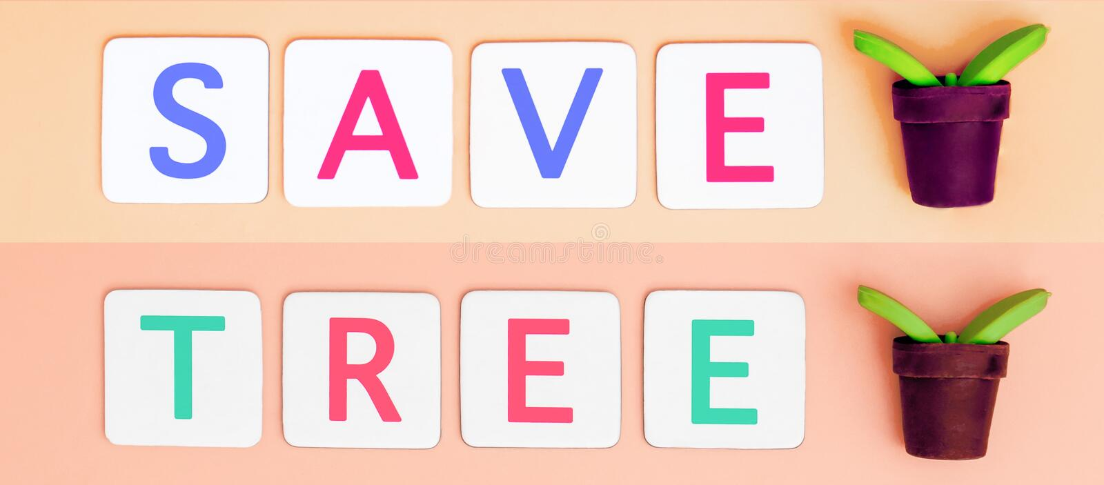Save Tree with small plant tree for Ecology and Earth day concept. Save Tree Letter with small plant tree for Ecology and Earth day concept royalty free stock photos