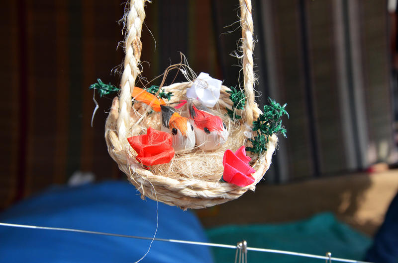 Save trees save birds now, don't know when we just become a story or may be past. A lovely hanging toys in handicraft trade fair royalty free stock image