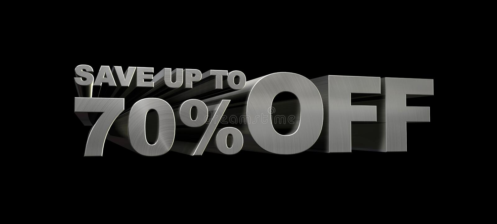 SAVE UP TO 70% OFF. 3D Graphic of large metallic characters that read SAVE UP TO 70% OFF Intended for retail sales graphics