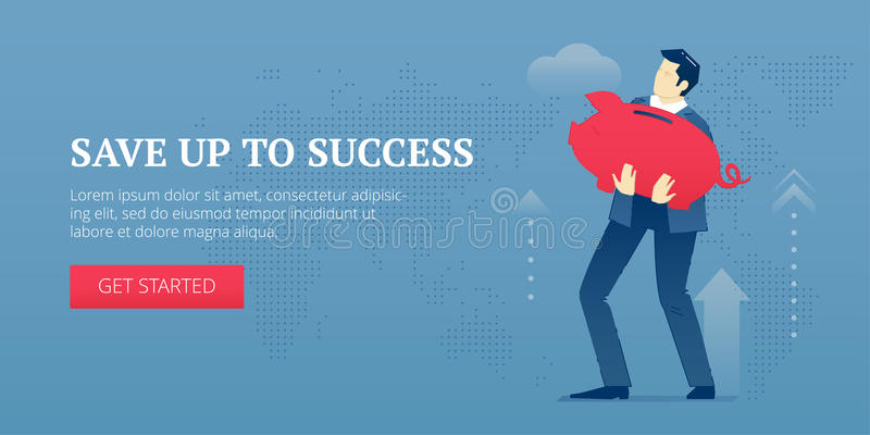 Save up to success web banner. Vector banner template of businessman character in business suit holding a big red metaphoric piggy bank. Vector concept for vector illustration