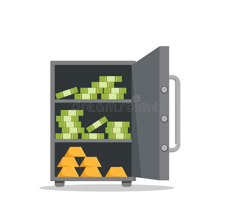 Free Save Vault Box Full Of Money Vector Illustration Royalty Free Stock Images - 212261149