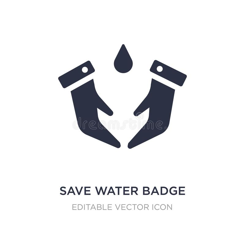 save water badge icon on white background. Simple element illustration from General concept stock illustration