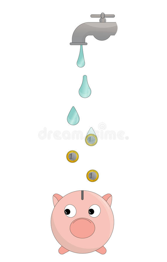 Save the water concept. The concept of saving water as a way to save money too. Drops of water transforming in euro coins falling inside a money pig royalty free illustration