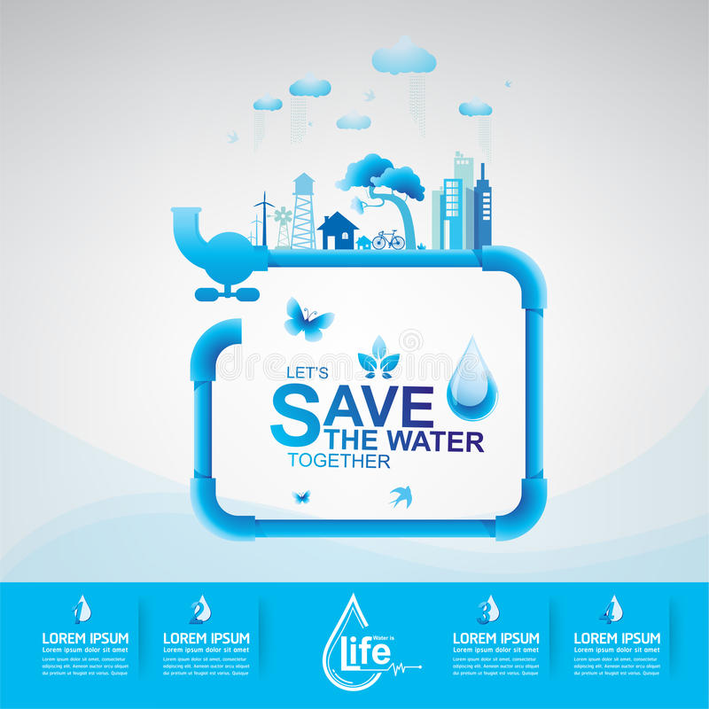 Save The Water Concept vector illustration