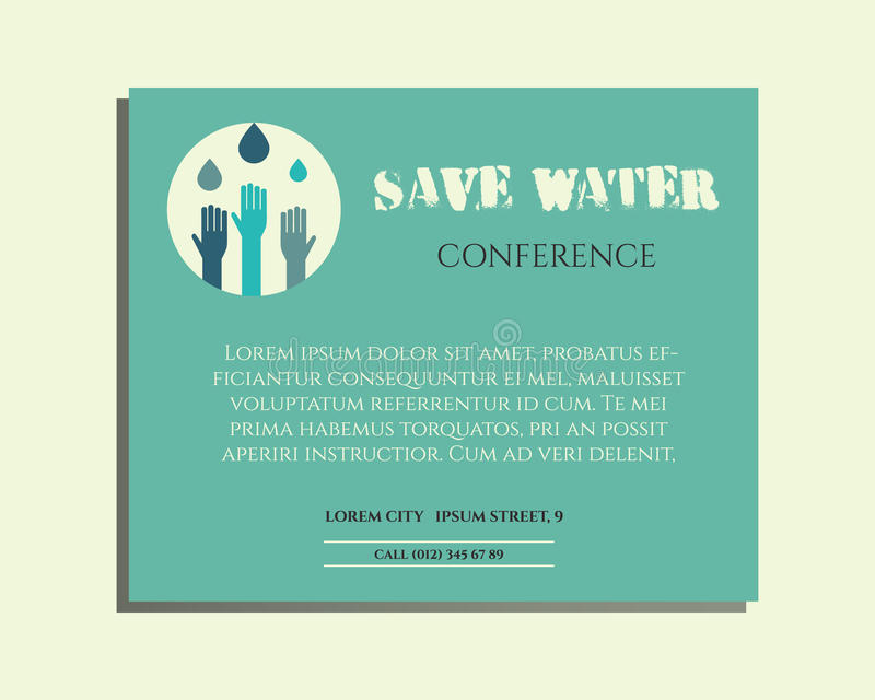 Download Save Water Conference Poster Invitation Template Stock Vector    Illustration Of Environment, Logo: