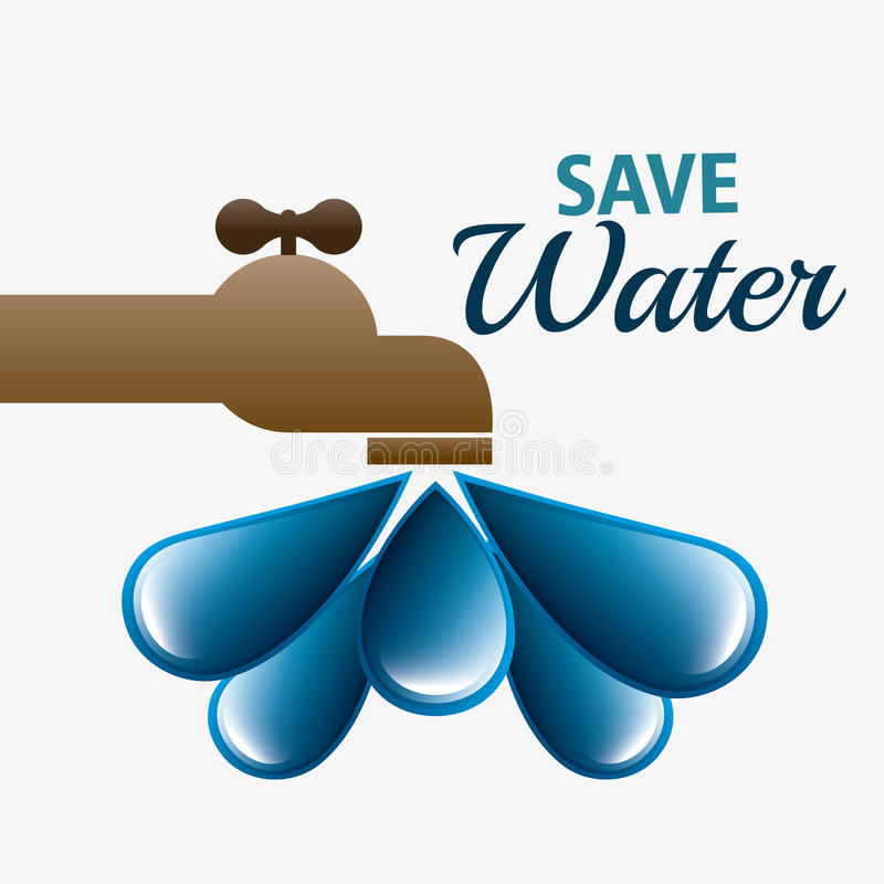 Save water ecology stock vector. Illustration of faucet - 60508731
