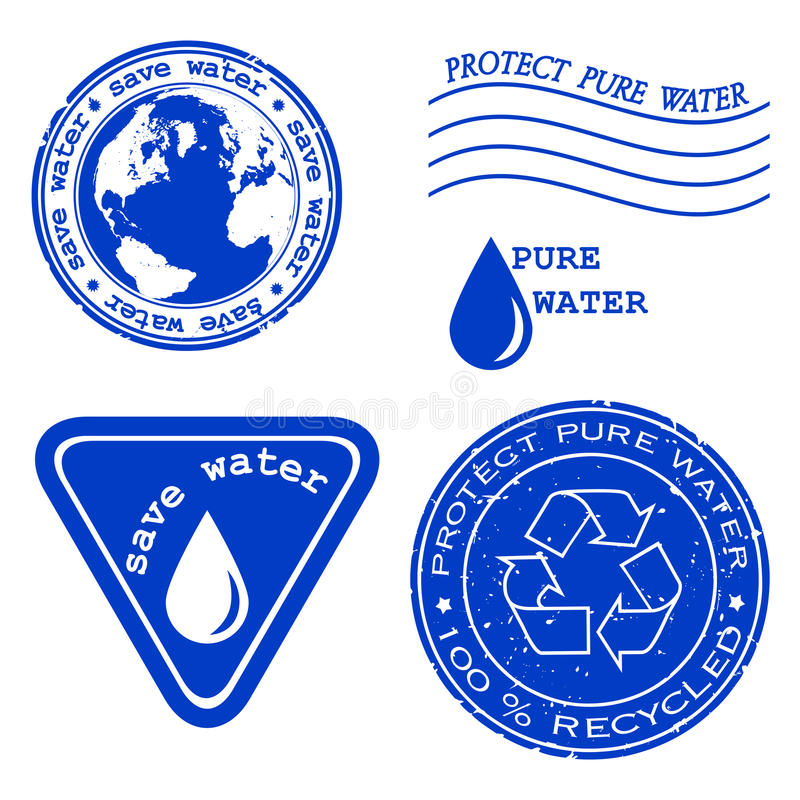Save water - grunge rubber stamp stock illustration