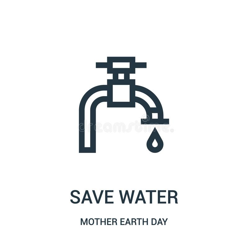 save water icon vector from mother earth day collection. Thin line save water outline icon vector illustration stock illustration