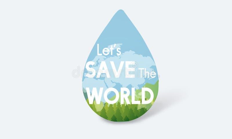 Save Water Natural Nurture Environmentally Development Concept stock illustration
