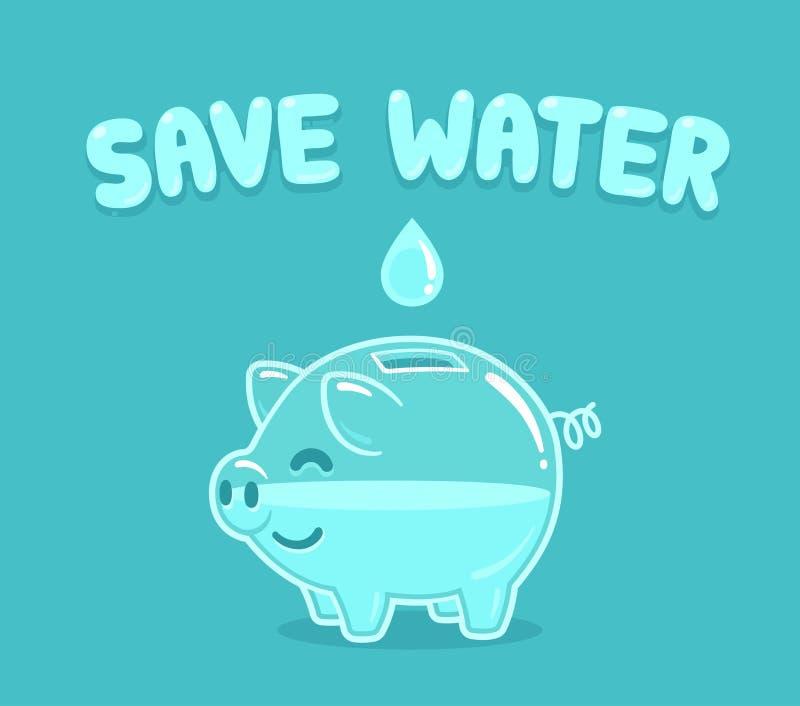Save water piggy bank stock illustration