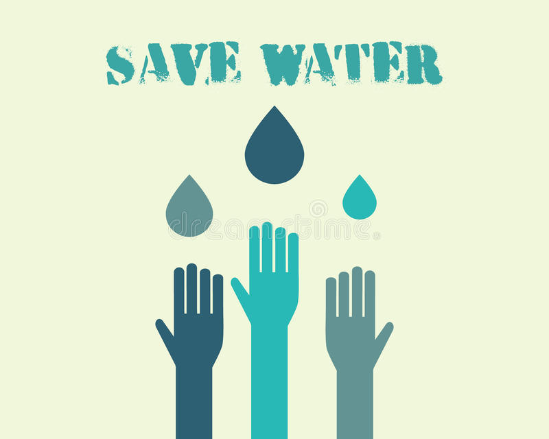 Save water poster concept with drops and hands. Ecology water crisis background. Vector illustration stock illustration