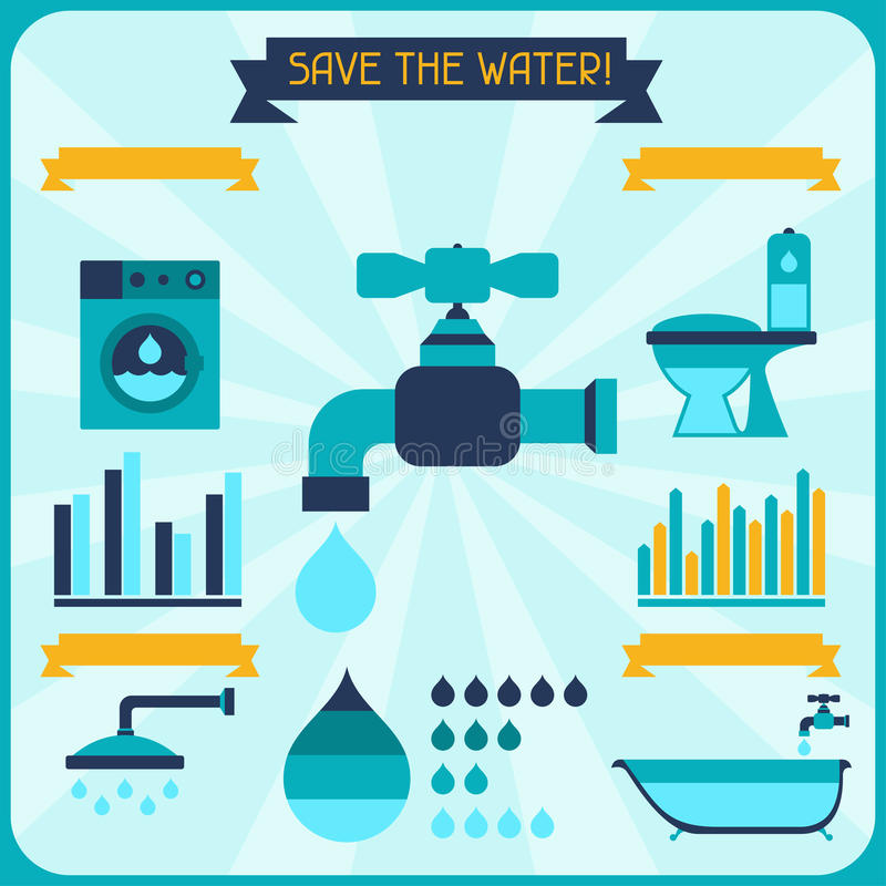 Save the water. Poster with infographics in flat royalty free illustration