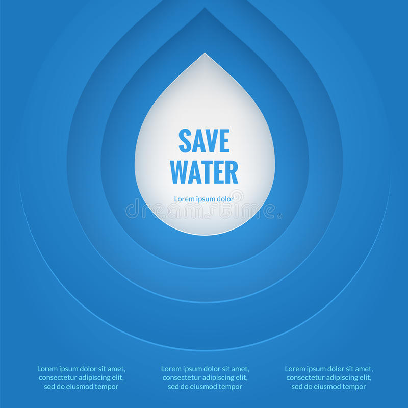 Save the water poster. World Water Day concept. Eco design template. Save the water poster. Blue background with drop shape. World Water Day concept vector illustration