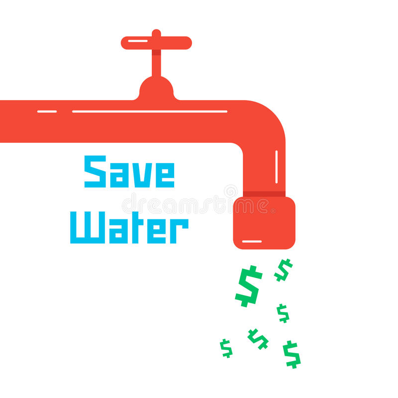 Save water with red faucet. Concept of thrifty lifestyle, supply, environmental guard, low water consumption, charge. isolated on white background. flat style royalty free illustration