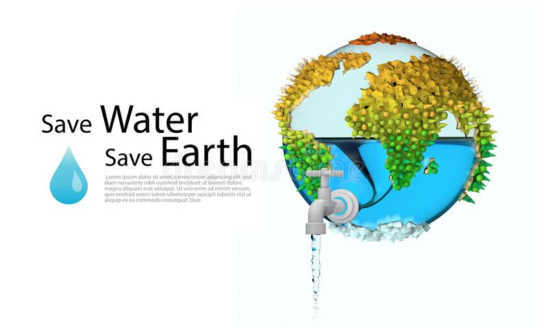 Save water save earth concept. brochure, poster or web banner. environmental protection. 3D vector illustration