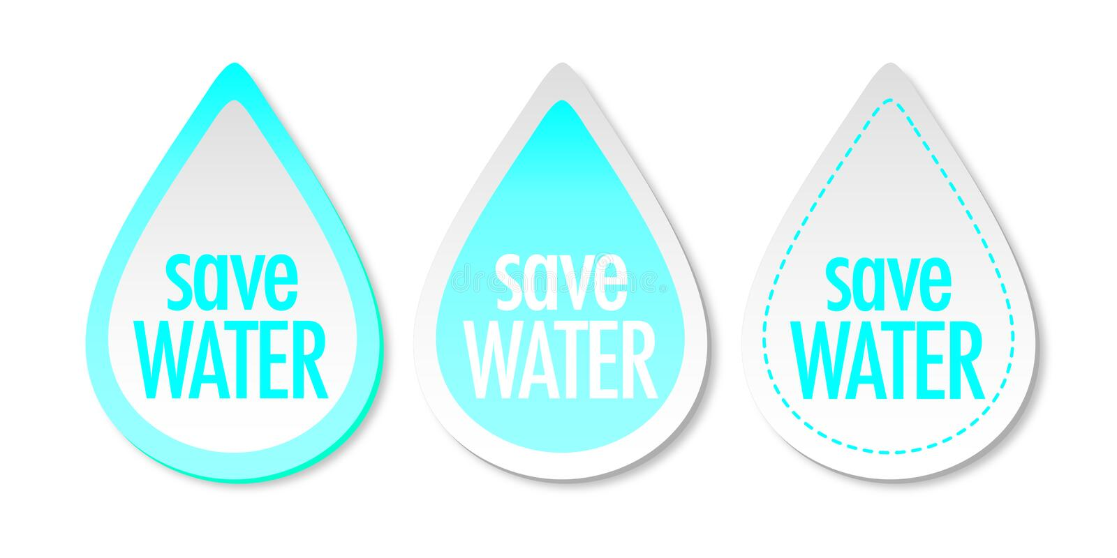 Save water stickers vector illustration