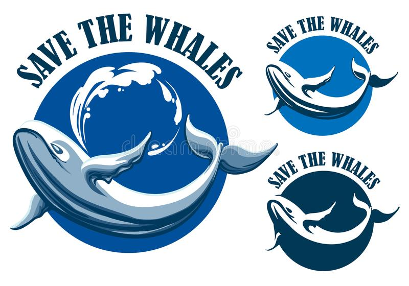 Save the whales emblem set royalty free illustration