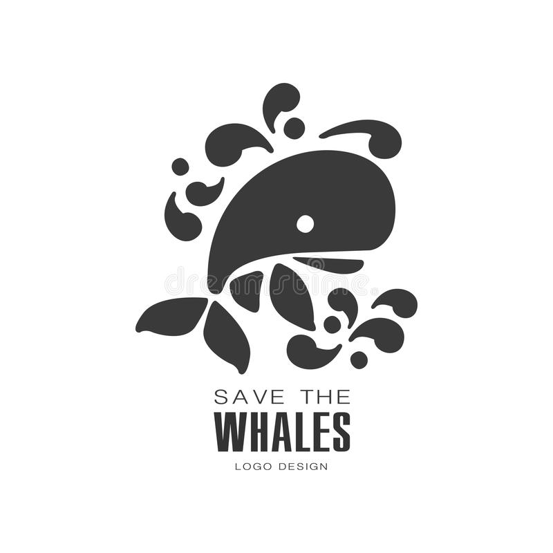 Save the whales logo design, protection of wild animal black and white sign vector Illustrations on a white background stock illustration