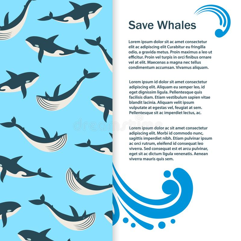 Save whales vector banner design stock illustration