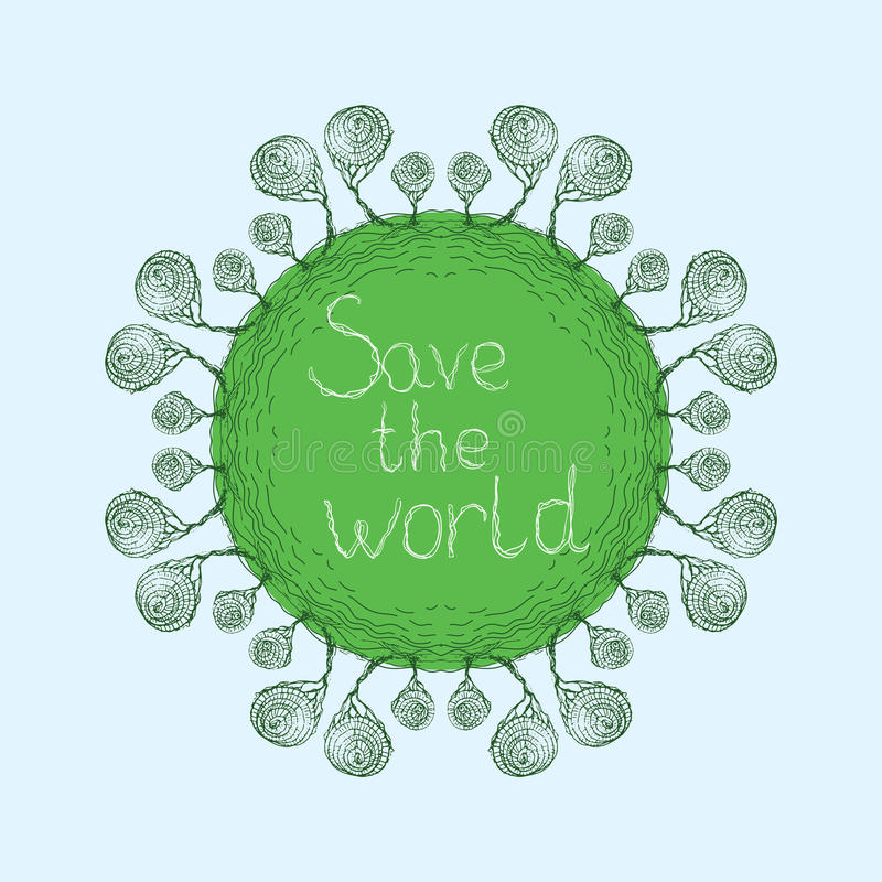 Download Save świat, karta ilustracja wektor. Ilustracja złożonej z ilustracje - 53789772