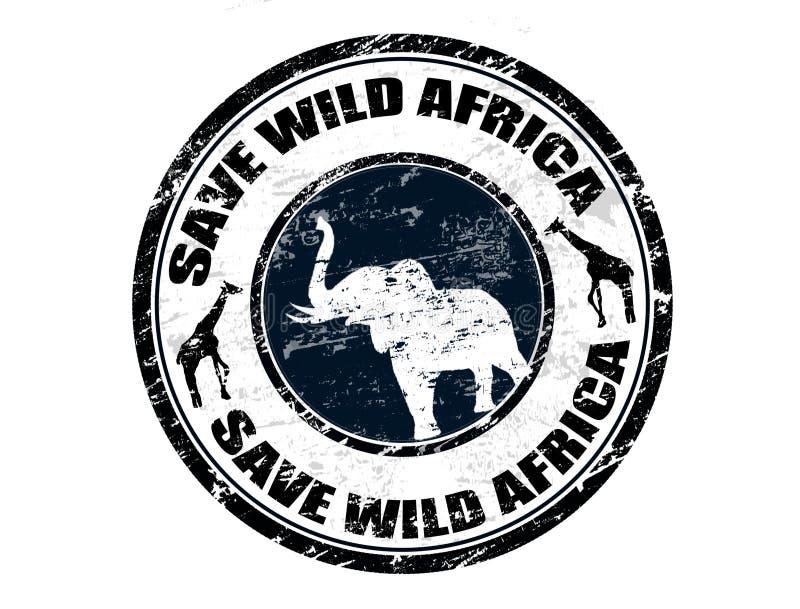 Save Wild Africa stamp royalty free illustration