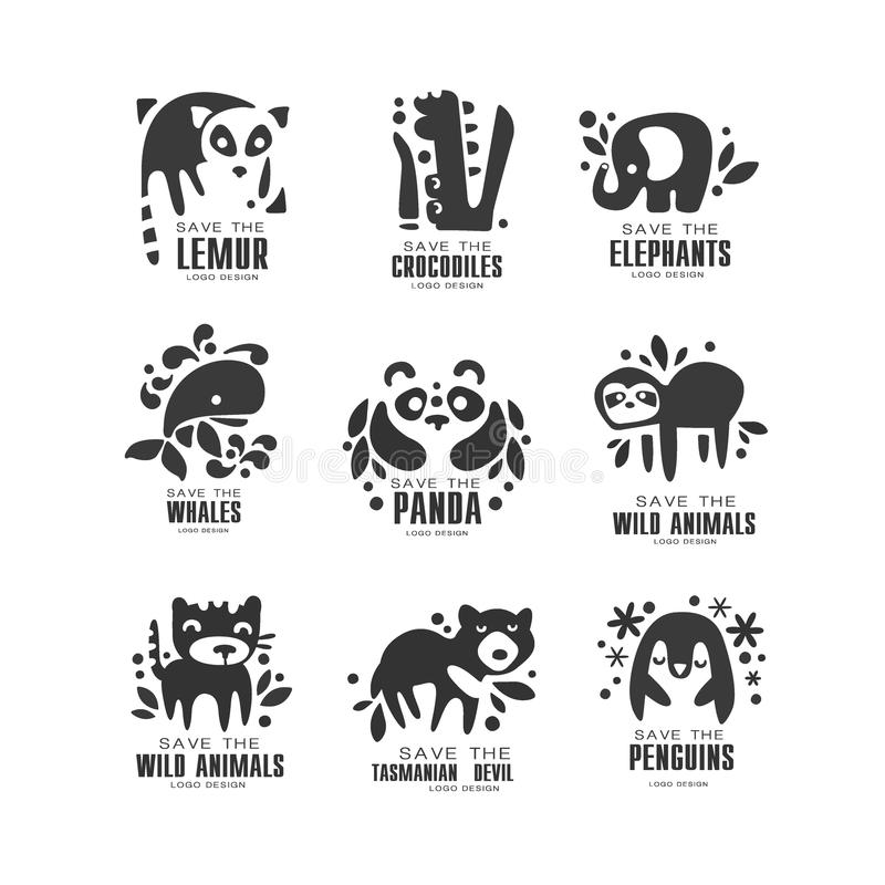 Save wild animal logo design set, protection of african animals black and white sign vector Illustrations on a white royalty free illustration
