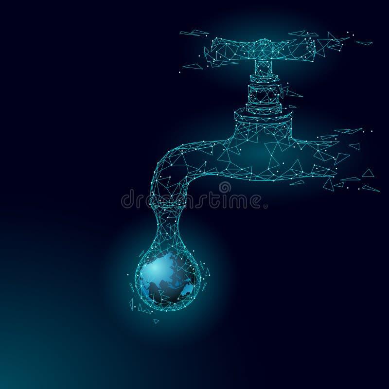 Save wodnego niskiego poli- pojęcie Poligonalnego trójbok ekologii planety oceanu denny zbawczy sztandar Wodnego klepnięcia kropl royalty ilustracja