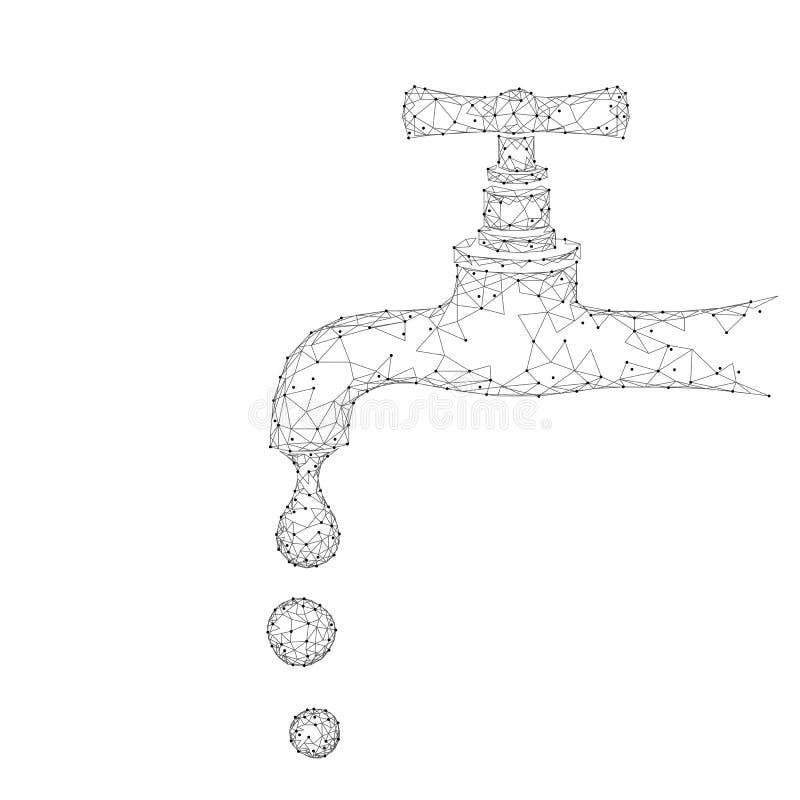 Save wodnego niskiego poli- pojęcie Poligonalnego trójbok ekologii planety oceanu denny zbawczy sztandar Wodnego klepnięcia kropl ilustracja wektor