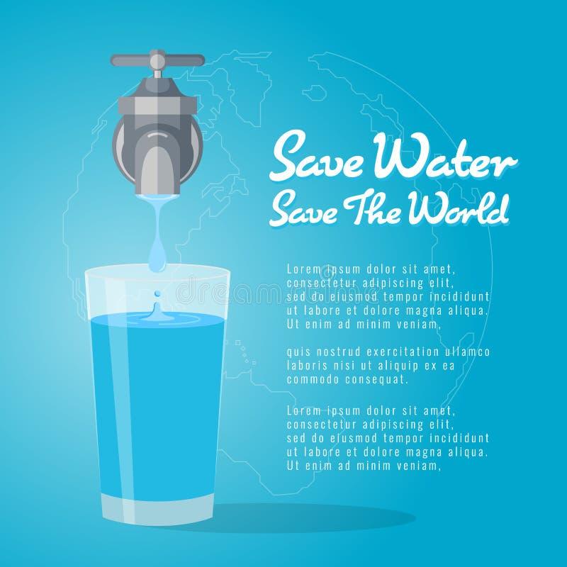 Save wody save szkło wodny wektorowy projekt świat, faucet lub wodny klepnięcie z kroplą woda, ilustracji