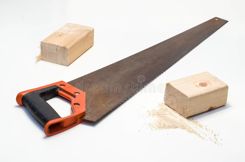 Save in wood with saw stock image