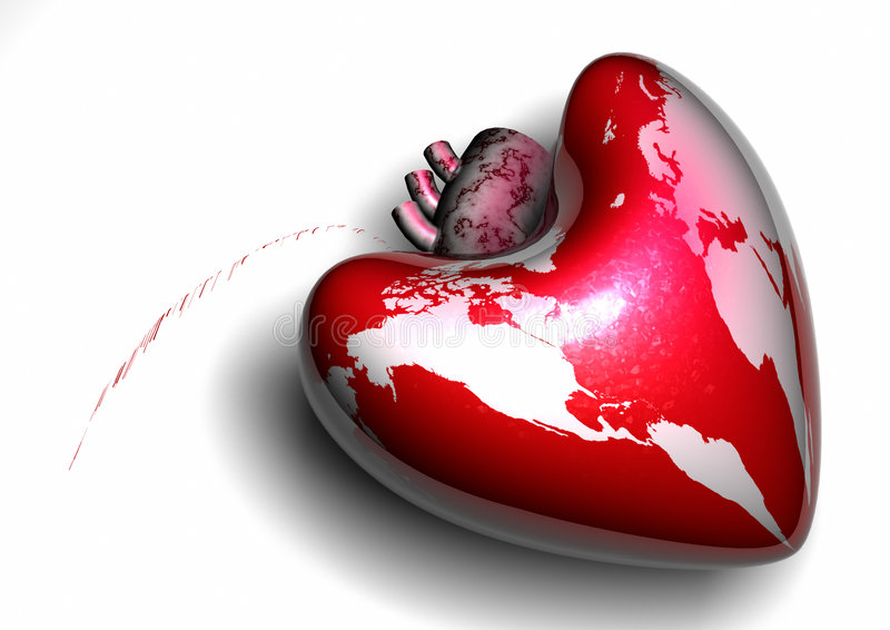 Save the World. Heart shaped world globe with blood stains