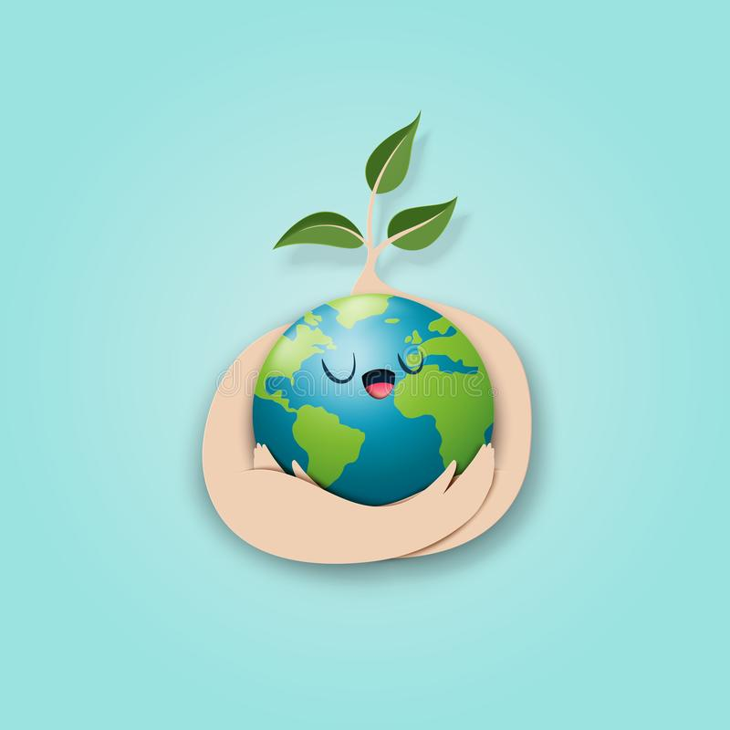 Save the world and eco concept paper art style stock illustration