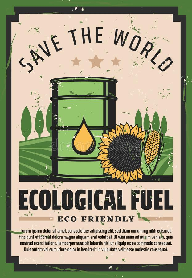 Save world ecological fuel, eco friendly biodiesel. Ecological fuel, green eco friendly oil and biodisel. Save World Earth environment and nature protection vector illustration