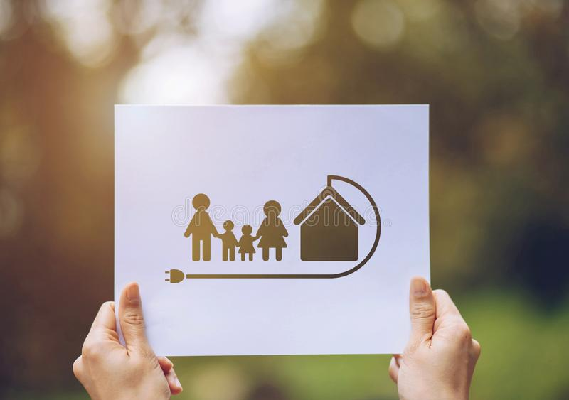 Save world ecology concept environmental conservation with hands holding cut out paper earth loving ecology family showing. Green, nature, tree, protection royalty free stock image