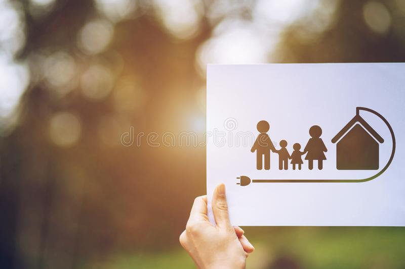 Save world ecology concept environmental conservation with hands holding cut out paper earth loving ecology family showing. Green, nature, tree, protection royalty free stock photography