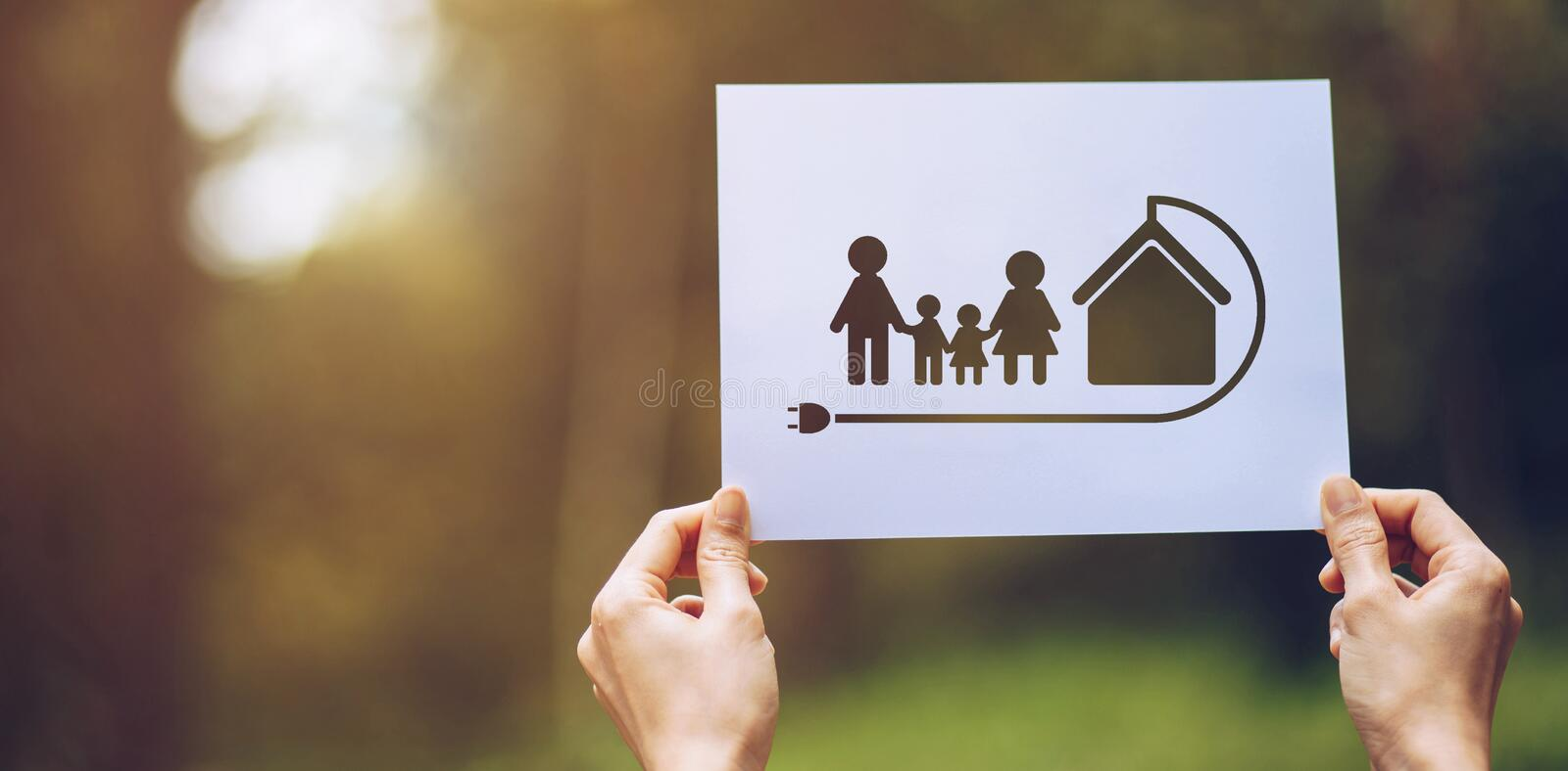 Save world ecology concept environmental conservation with hands holding cut out paper earth loving ecology family showing. Green, nature, tree, protection stock photo