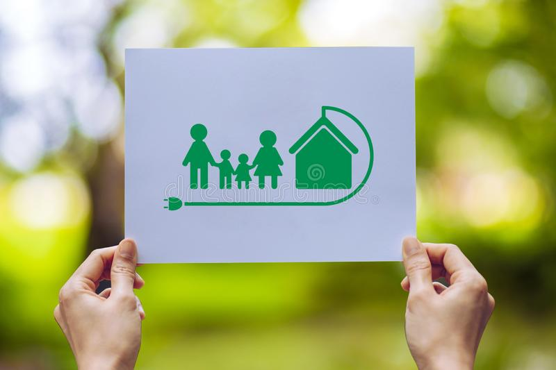 Save world ecology concept environmental conservation with hands holding cut out paper earth loving ecology family showing. Nature, green, design, natural royalty free stock photo