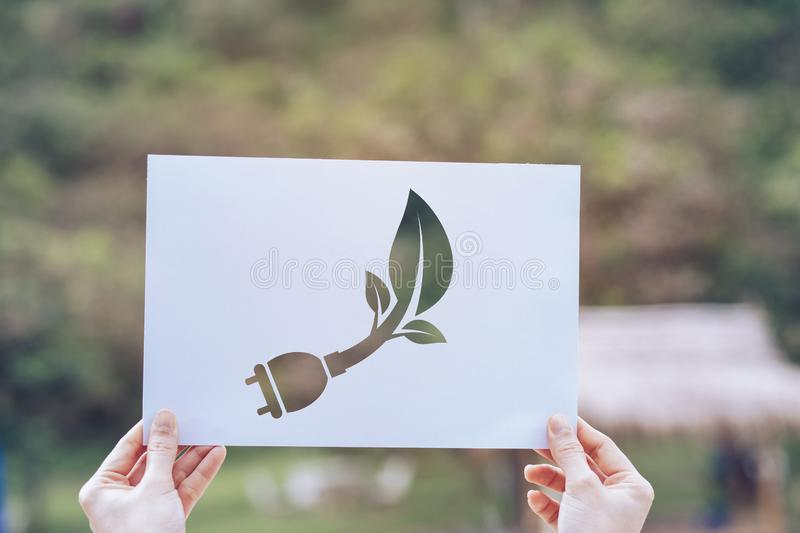 Save world ecology concept environmental conservation with hands holding cut out paper showing. Nature, green, design, natural, background, creative, art royalty free stock images