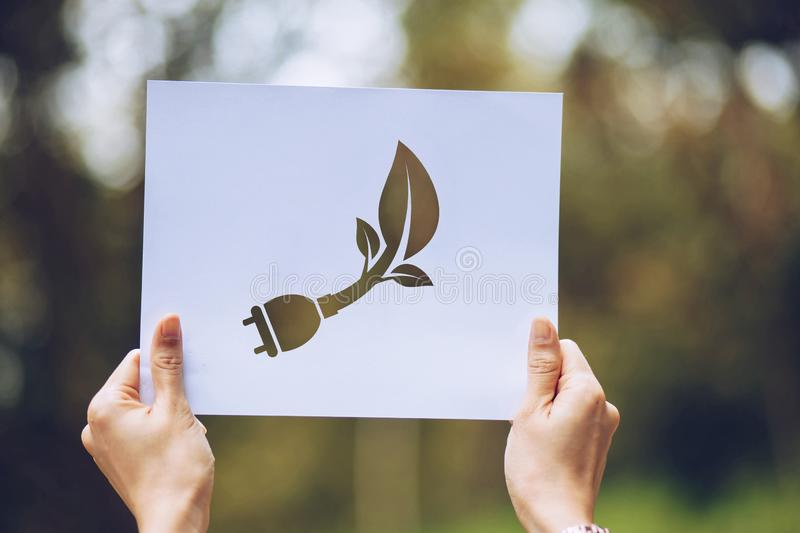 Save world ecology concept environmental conservation with hands holding cut out paper showing. Nature, green, design, natural, background, creative, art stock image