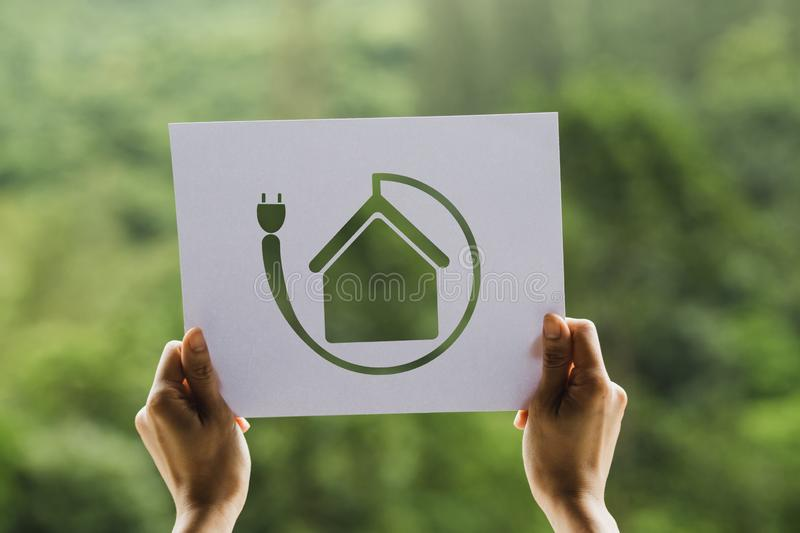 Save world ecology concept environmental conservation with hands holding cut out paper showing. Nature, green, design, natural, background, creative, art royalty free stock photography