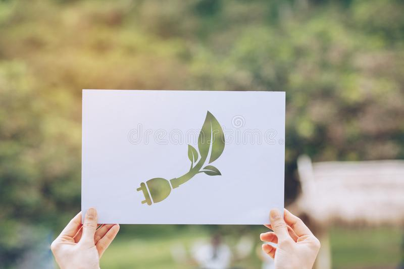 Save world ecology concept environmental conservation with hands holding cut out paper showing. Nature, green, design, natural, background, creative, art royalty free stock photo