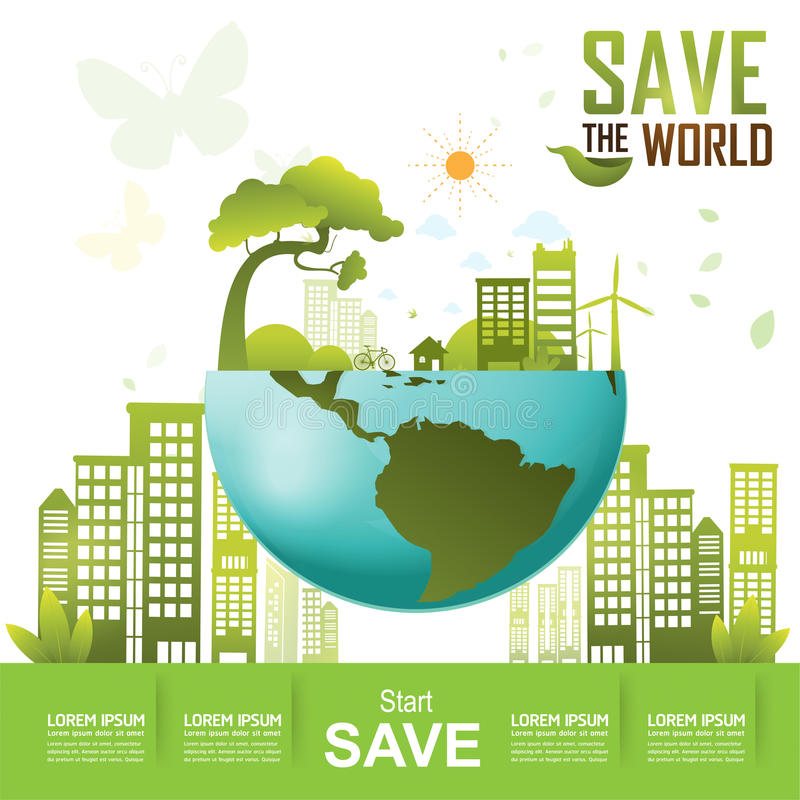 Save the World, Ecology Concept Go Green stock illustration