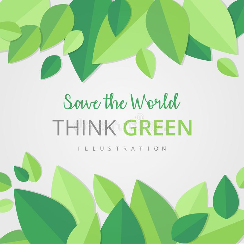 Save the world green template royalty free illustration