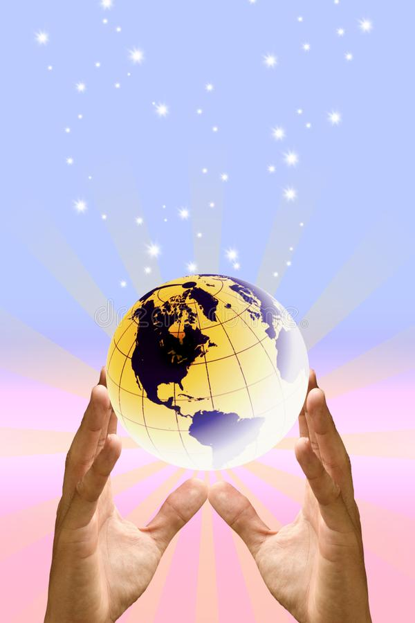 Save the world with love concept, Hand protect the earth with sweet color stock photography